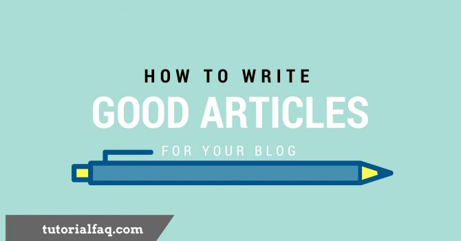 Article writing tutorial