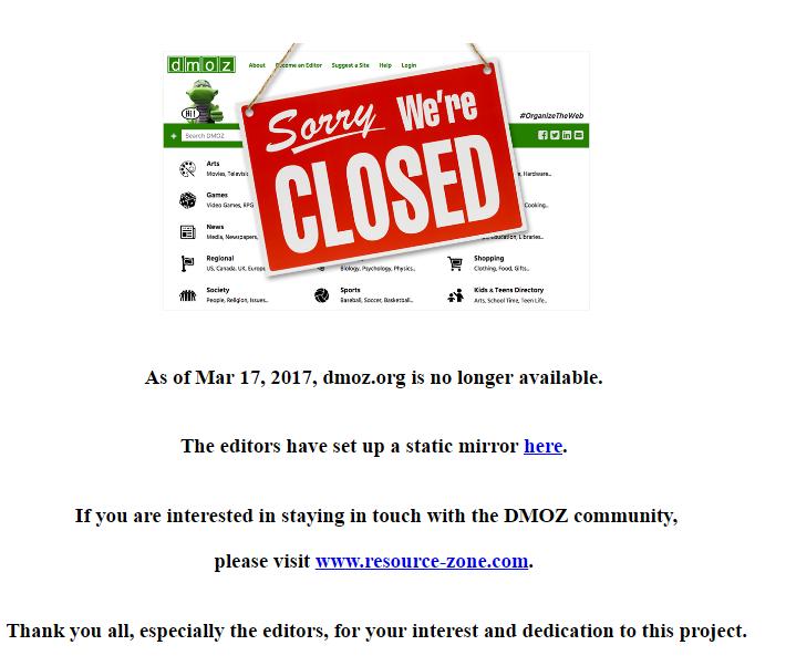 dmoz shuts down