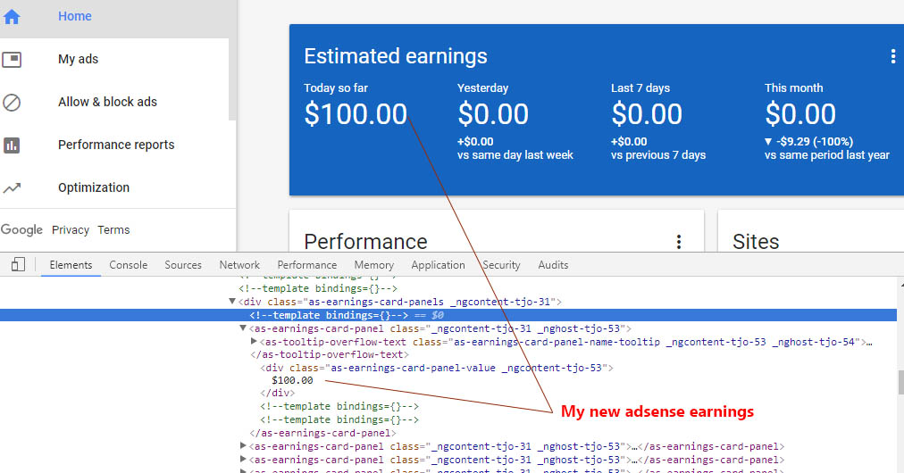 Fake Adsense Revenue Report